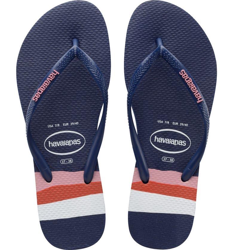 HAVAIANAS Slimstripes Flip Flop, Main, color, NAVY BLUE