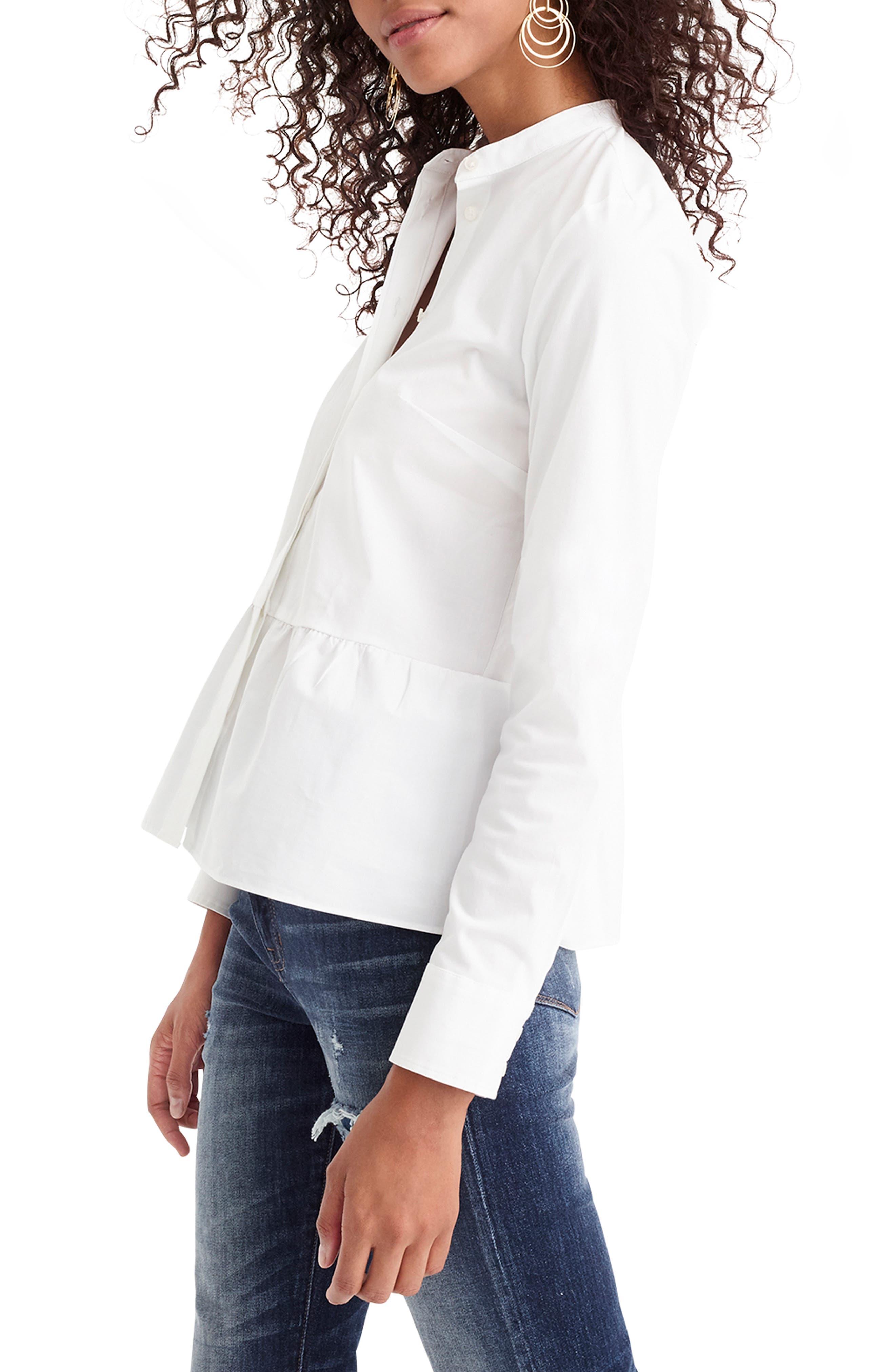 ,                             Stretch Button-Up Peplum Shirt,                             Alternate thumbnail 3, color,                             WHITE