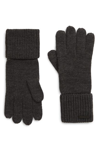 Allsaints Cuffed Knit Gloves In Charcoal