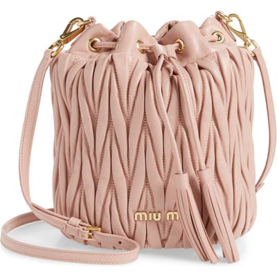 Miu Miu Small Matelasse Leather Bucket Bag - Pink