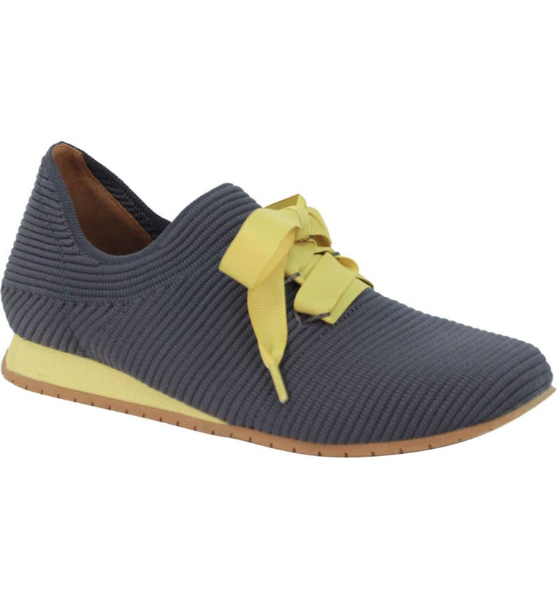 L'AMOUR DES PIEDS Taimah Sneaker, Main, color, DARK GREY/ YELLOW FABRIC