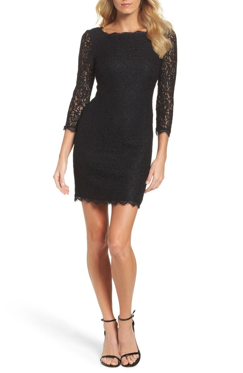 ADRIANNA PAPELL Lace Overlay Sheath Dress, Main, color, 001