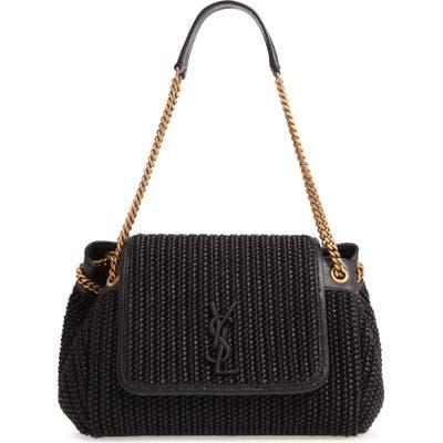 Saint Laurent Small Nolita Raffia Shoulder Bag - Black