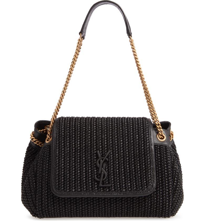 SAINT LAURENT Small Nolita Raffia Shoulder Bag, Main, color, NOIR