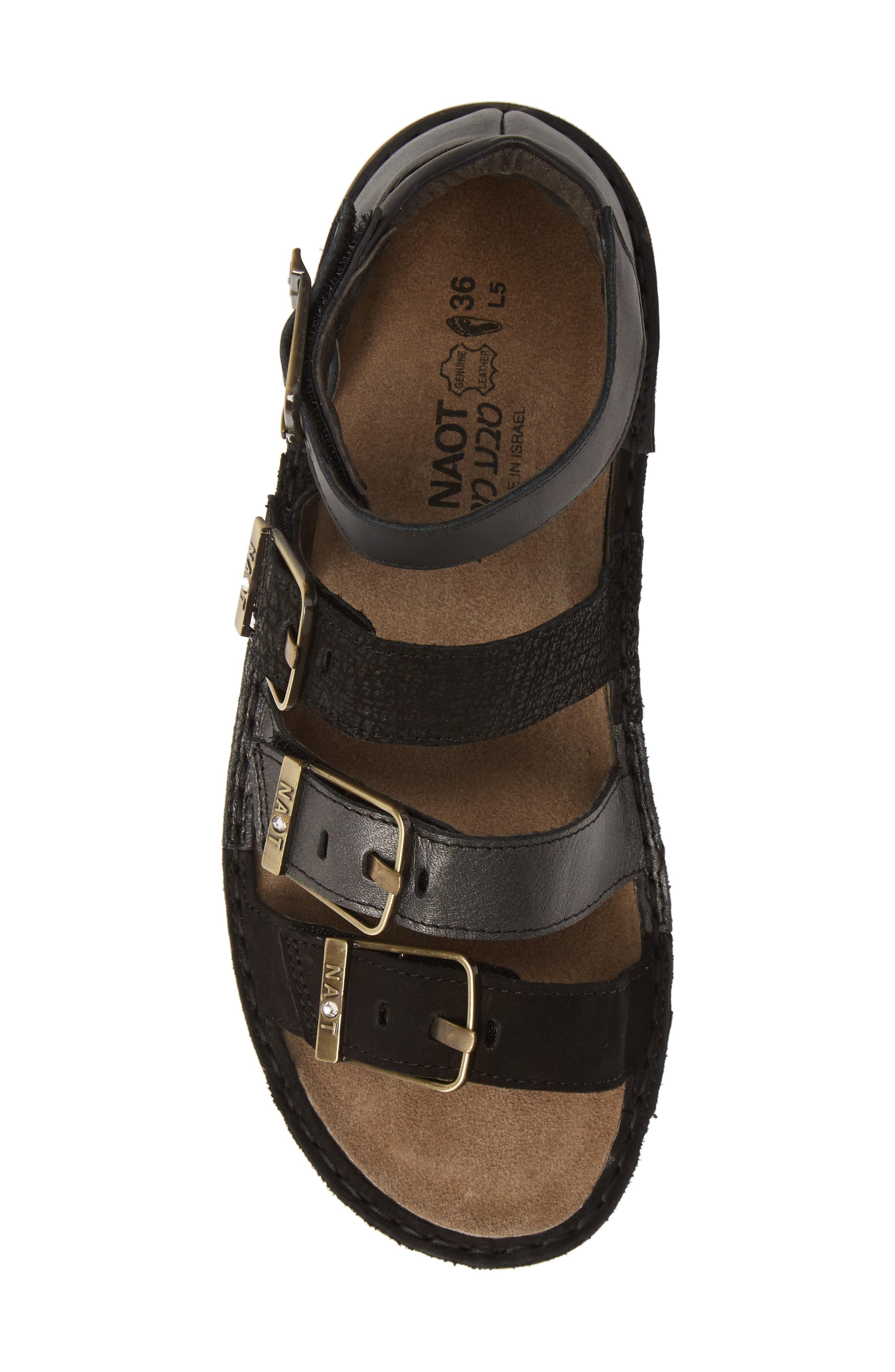 ,                             'Begonia' Sandal,                             Alternate thumbnail 5, color,                             BLACK/ BLACK LEATHER