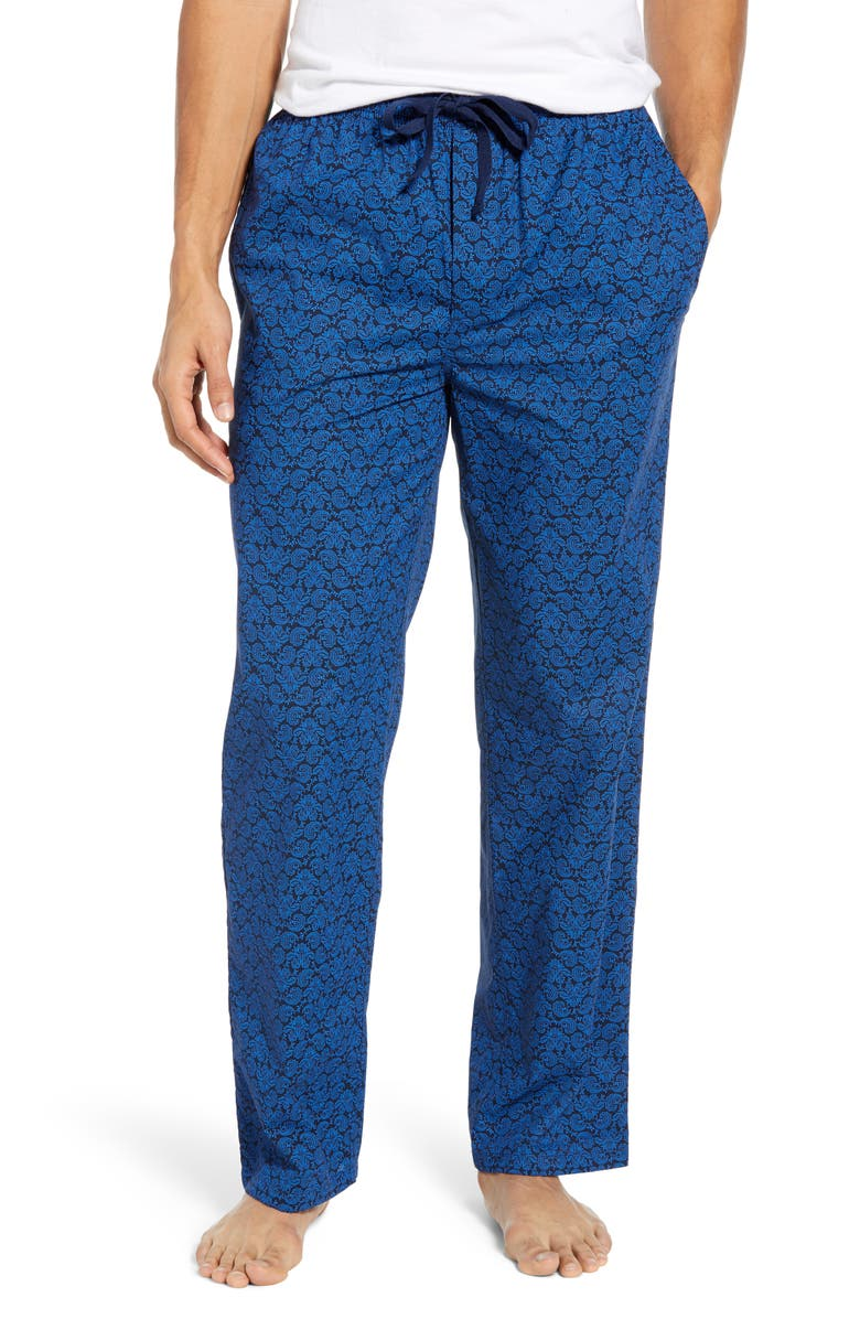NORDSTROM MEN'S SHOP Poplin Pajama Pants, Main, color, NAVY BLUE DAMASK