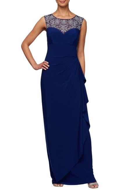 Image of Alex Evenings Embellished Illusion Yoke Cascading Maxi Dress