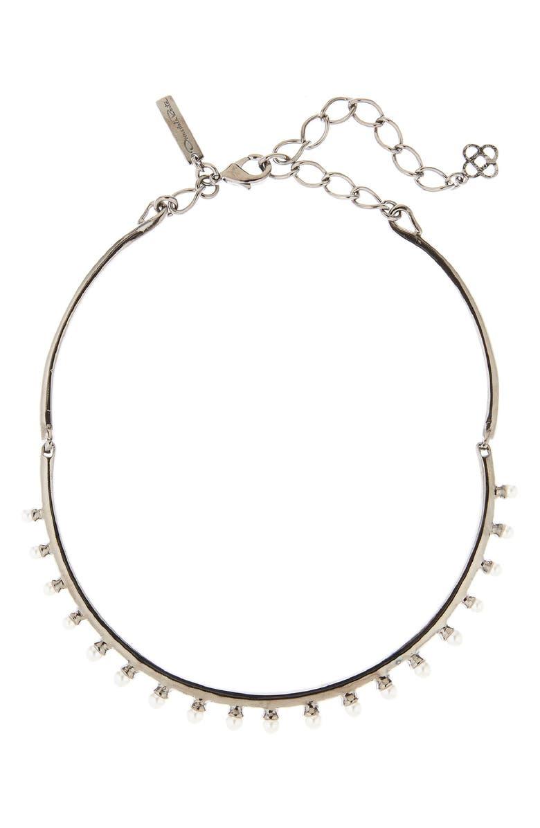 OSCAR DE LA RENTA Imitation Pearl Necklace, Main, color, GUNMETAL