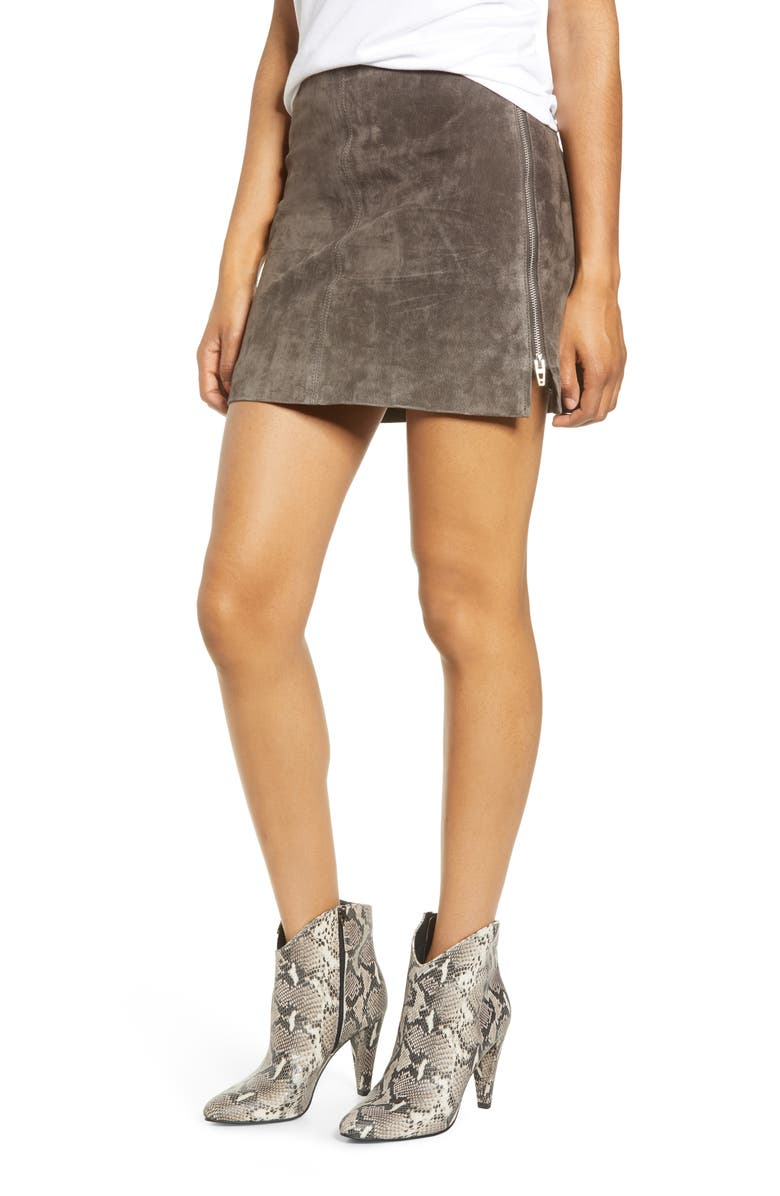 Side Zip Suede Miniskirt by Blanknyc