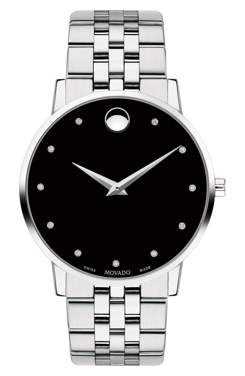MOVADO Museum Diamond Bracelet Watch, 40mm, Main, color, SILVER/ BLACK/ SILVER