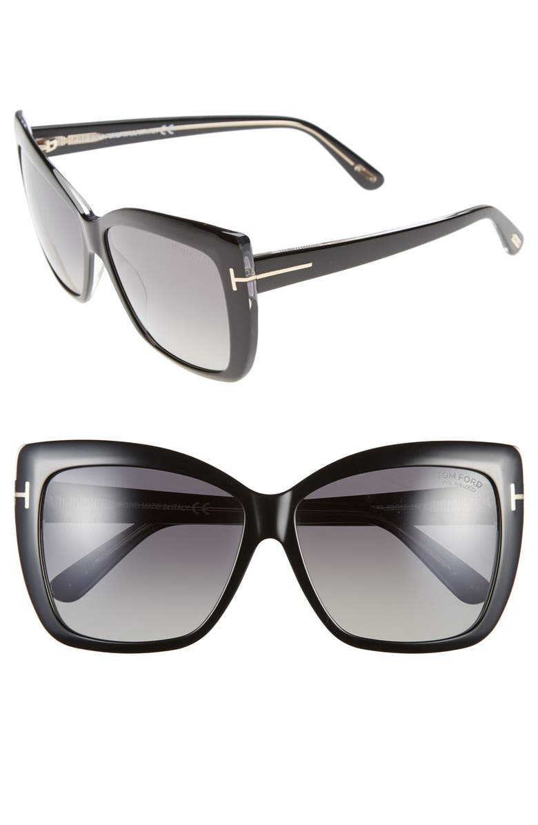 TOM FORD Irina 59mm Polarized Sunglasses, Main, color, 001