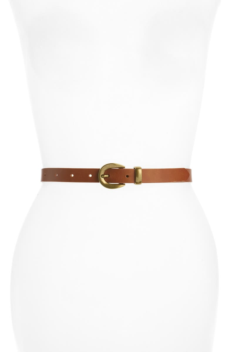 MADEWELL Chunky Buckle Leather Skinny Belt, Main, color, DESERT CAMEL
