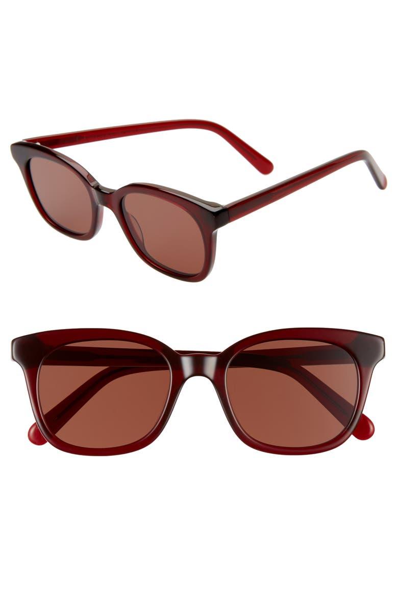 MADEWELL Venice 49mm Flat Frame Sunglasses, Main, color, WINE