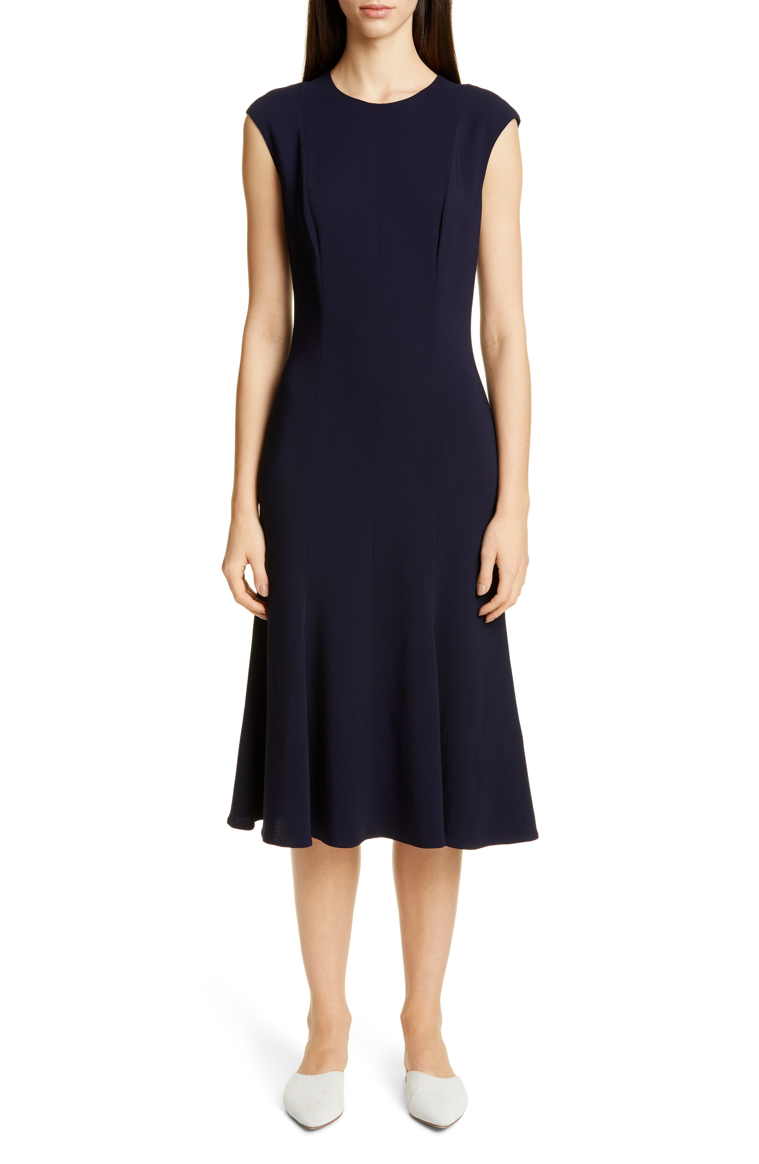 St. John Collection Stretch Cady Fit & Flare Dress, (similar to 1) - Blue