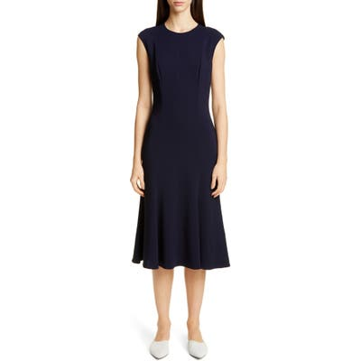 St. John Collection Stretch Cady Fit & Flare Dress, Blue