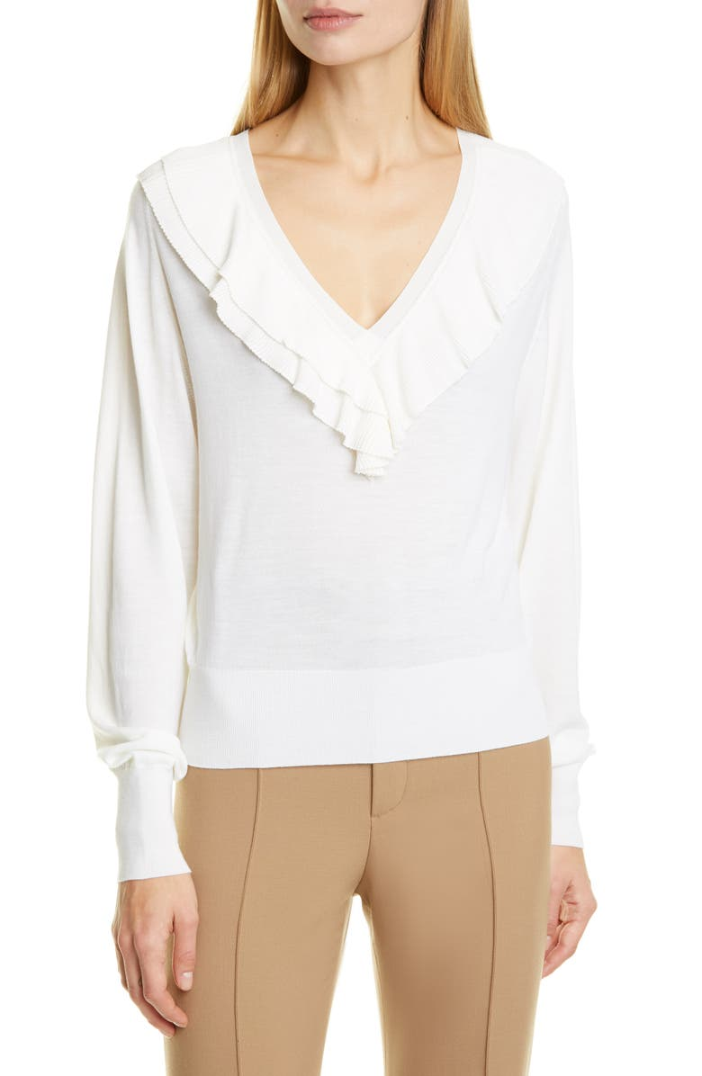 CHLOÉ Ruffle V-Neck Merino Wool Sweater, Main, color, Y