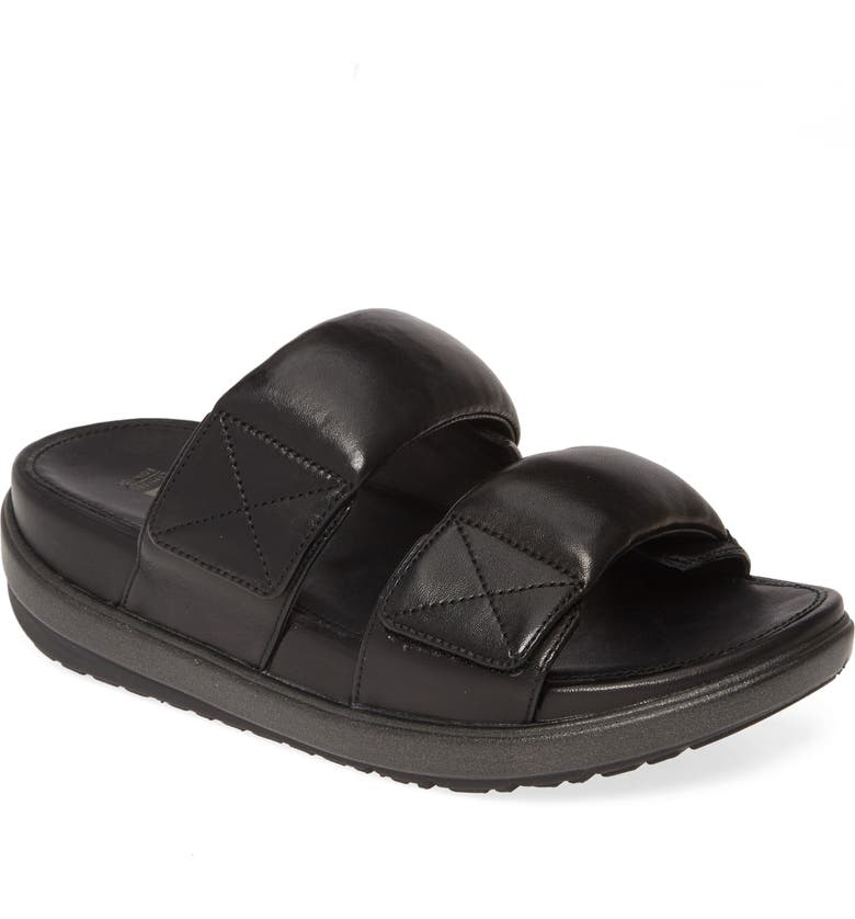 FITFLOP Loosh Luxe Slide Sandal, Main, color, ALL BLACK LEATHER