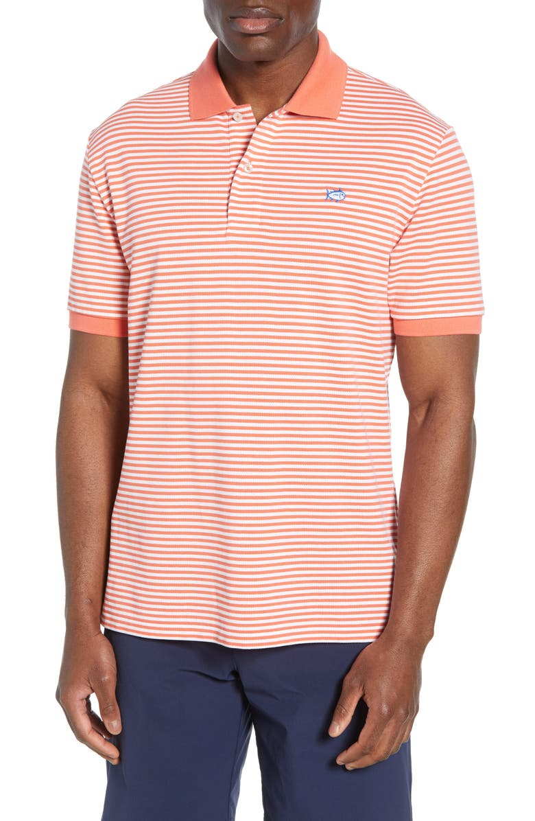 SOUTHERN TIDE Skipjack Stripe Piqué Polo, Main, color, SEA CORAL