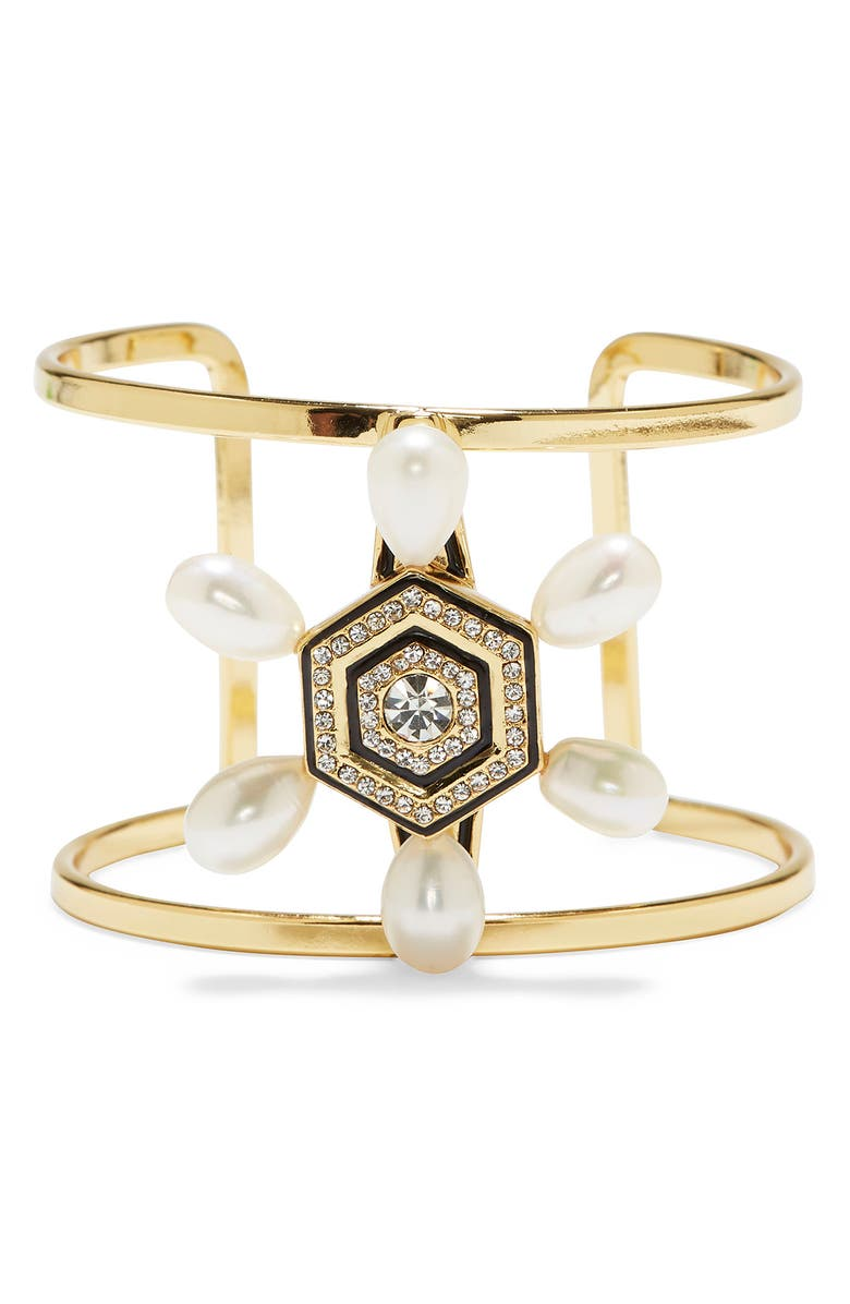 VINCE CAMUTO Statement 'T' Cuff, Main, color, GOLD