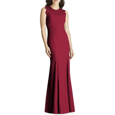 Dessy Collection Lace Back Crepe Gown, Burgundy