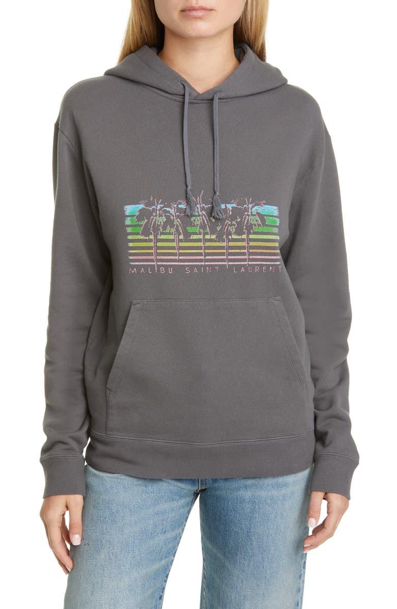 SAINT LAURENT Malibu Graphic Hoodie, Main, color, GRIS/MULTICOLORE