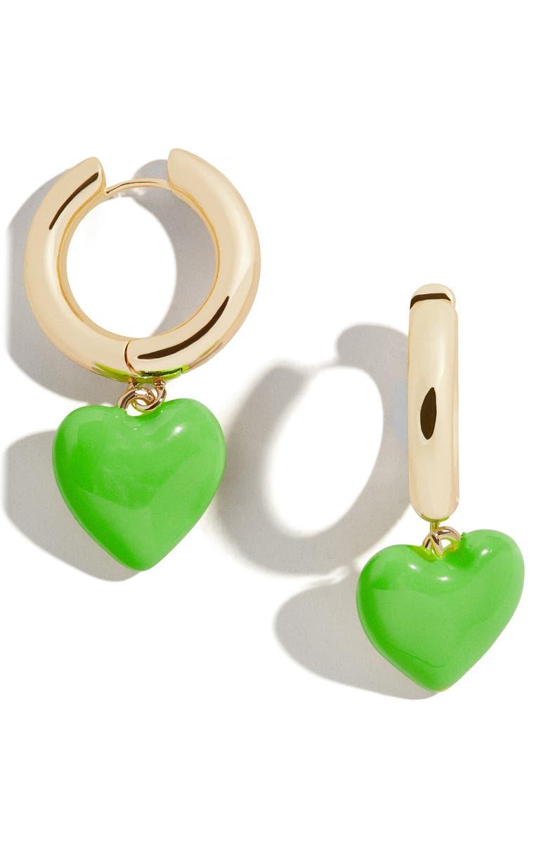 BAUBLEBAR Fiona Huggie Hoop Earrings, Main, color, GREEN