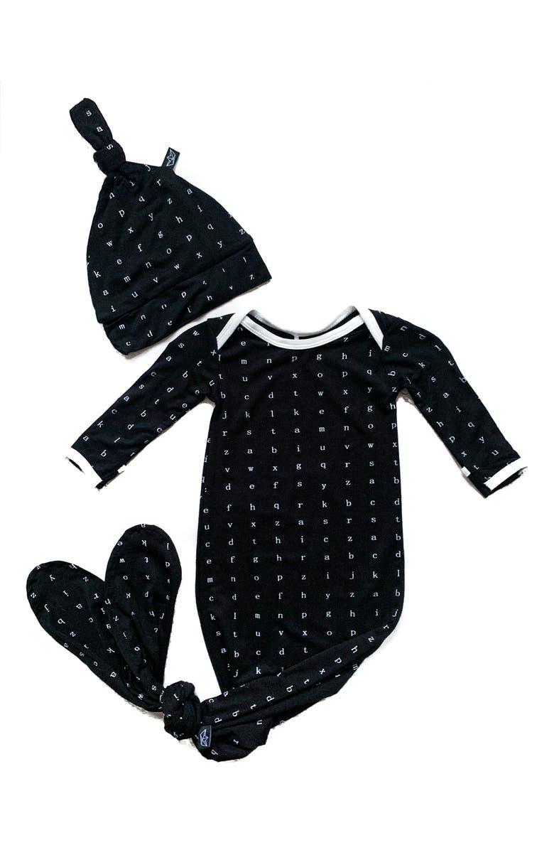 PEREGRINE KIDSWEAR Black Typewriter Gown & Hat Set, Main, color, 001