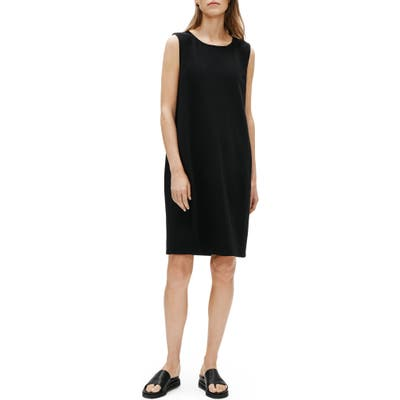 Eileen Fisher Jewel Neck Sleeveless Organic Cotton Shift Dress, Black