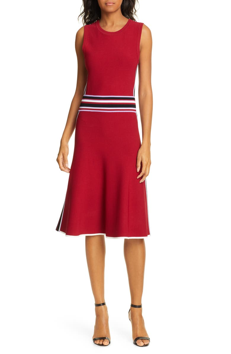 DVF Elsie Stretch Knit A-Line Dress, Main, color, SANGRIA MULTI