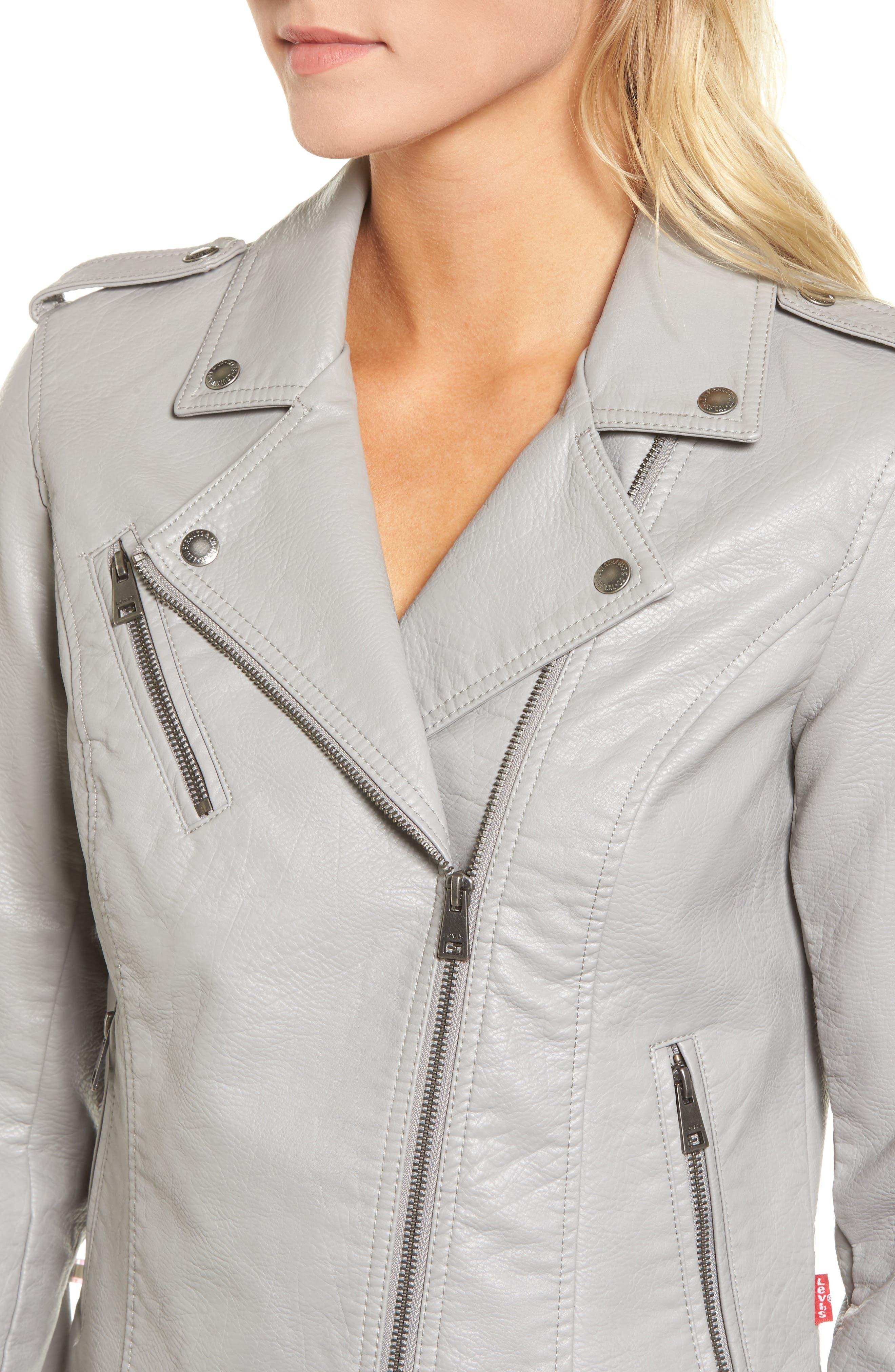 ,                             Faux Leather Moto Jacket,                             Alternate thumbnail 5, color,                             030