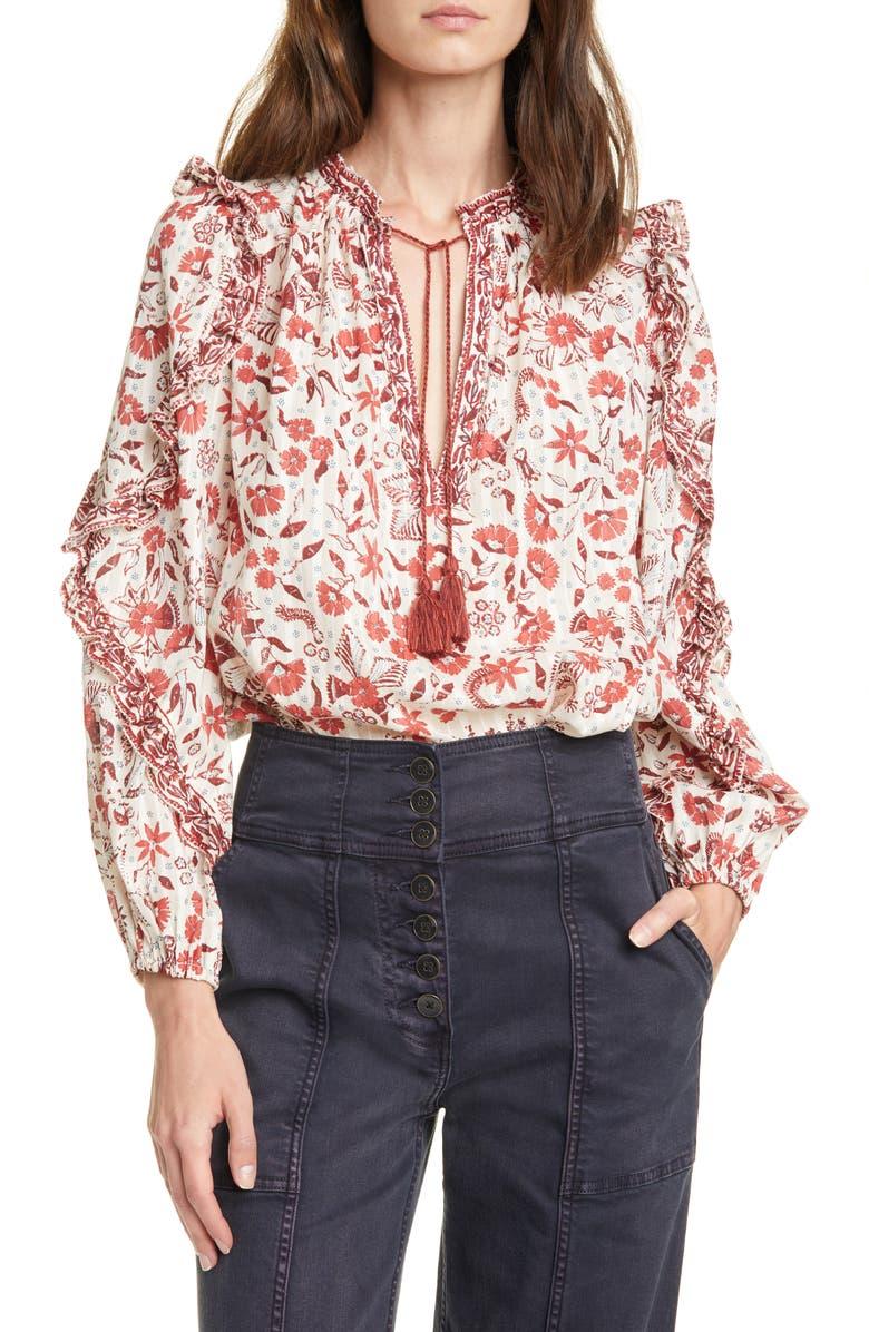 ULLA JOHNSON Azalea Floral Blouse, Main, color, CREAM