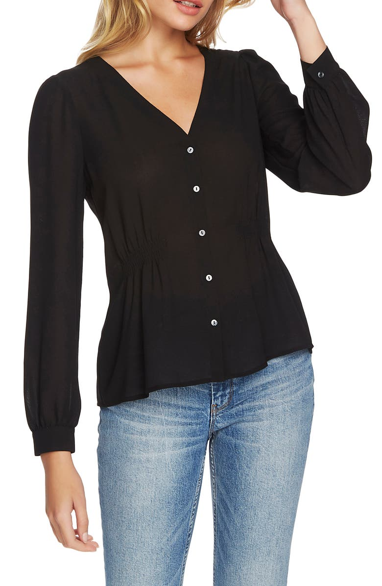 1.STATE Cinched Waist Button Front Blouse, Main, color, 001