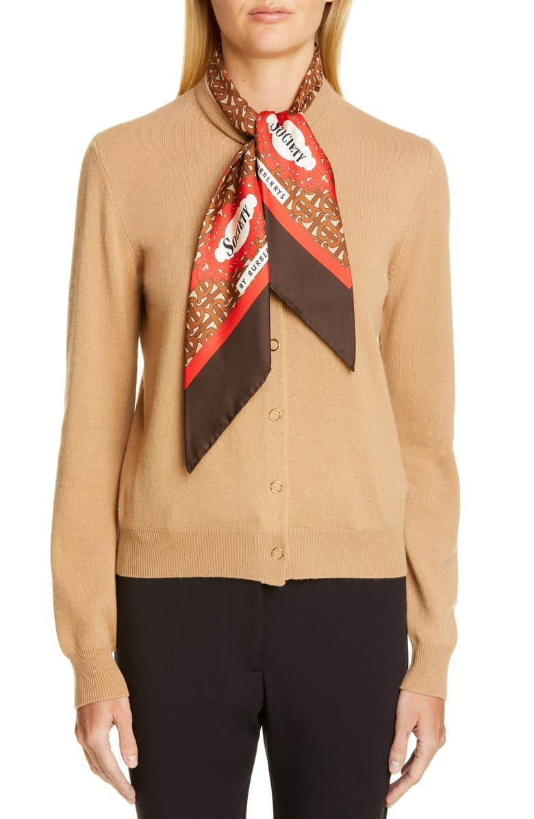 BURBERRY Scarf Neck Cashmere Cardigan, Main, color, ACORN