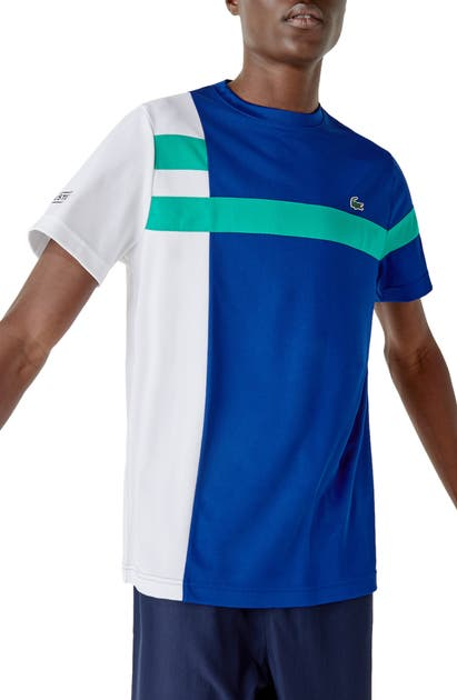 Lacoste Men's Sport Colorblock Breathable Piqué Tennis T-shirt In Cosmic/ White Greenfinch