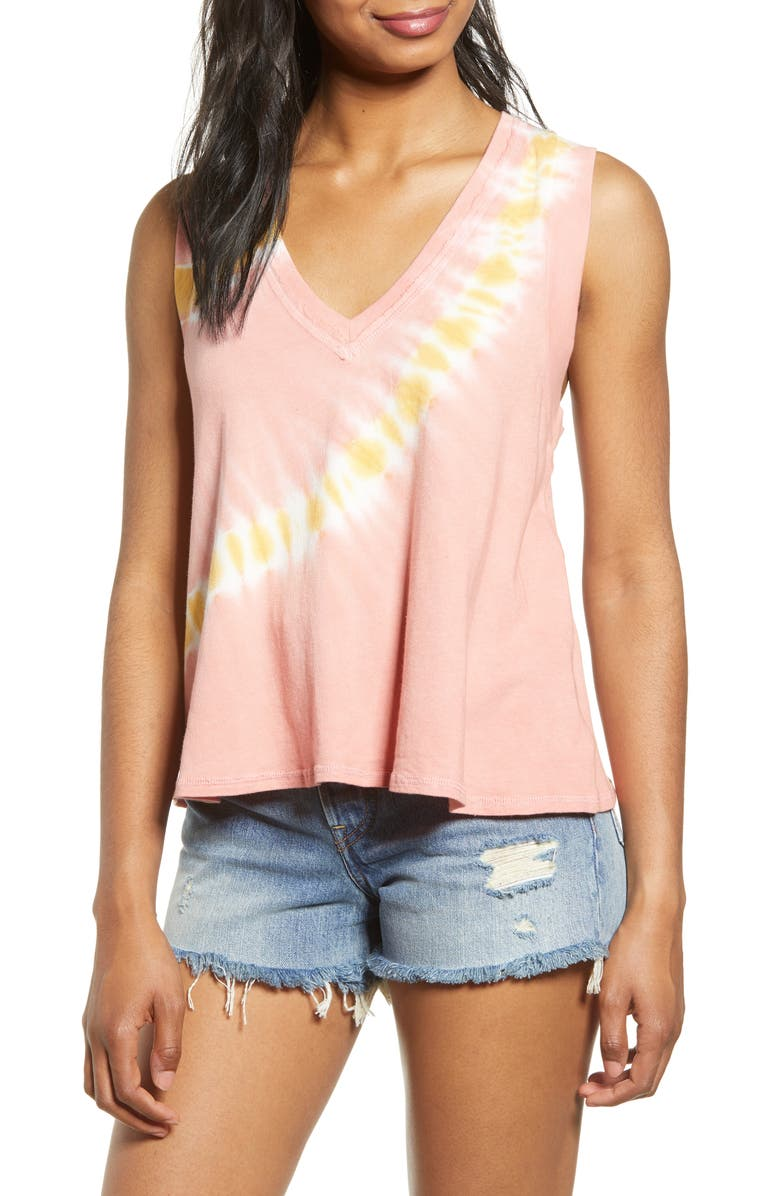 PROJECT SOCIAL T Rosie Tie Dye Tank, Main, color, CORAL/ YELLOW