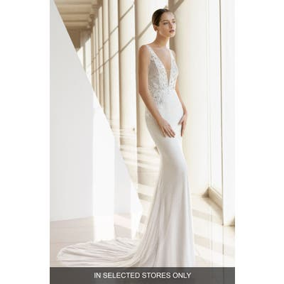 Rosa Clara Kamille Plunging V-Neck Beaded Trumpet Gown, Size IN STORE ONLY - Ivory