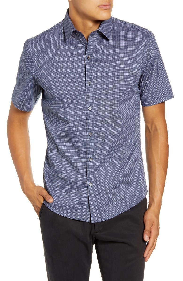 ZACHARY PRELL Suarez Regular Fit Short-Sleeve Button-Up Sport Shirt, Main, color, NAVY