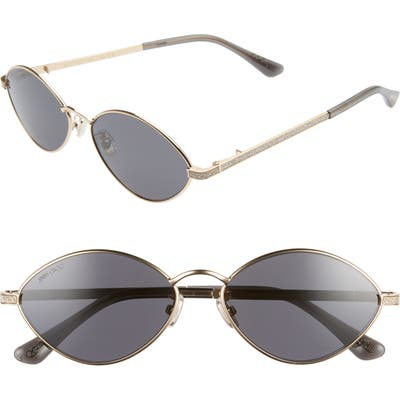 Jimmy Choo Sonny 5m Oval Sunglasses With Chain - Gold/ Grey Blue