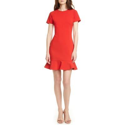 Likely Beckett Flounce Hem Short Sleeve Sheath Dress, Red