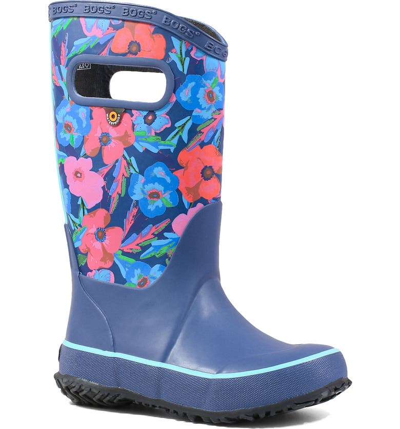 BOGS Pansy Print Rubber Rain Boot, Main, color, INDIGO MULTI