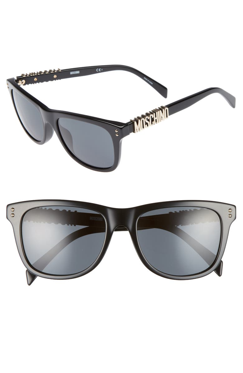 MOSCHINO 53mm Polarized Sunglasses, Main, color, BLACK