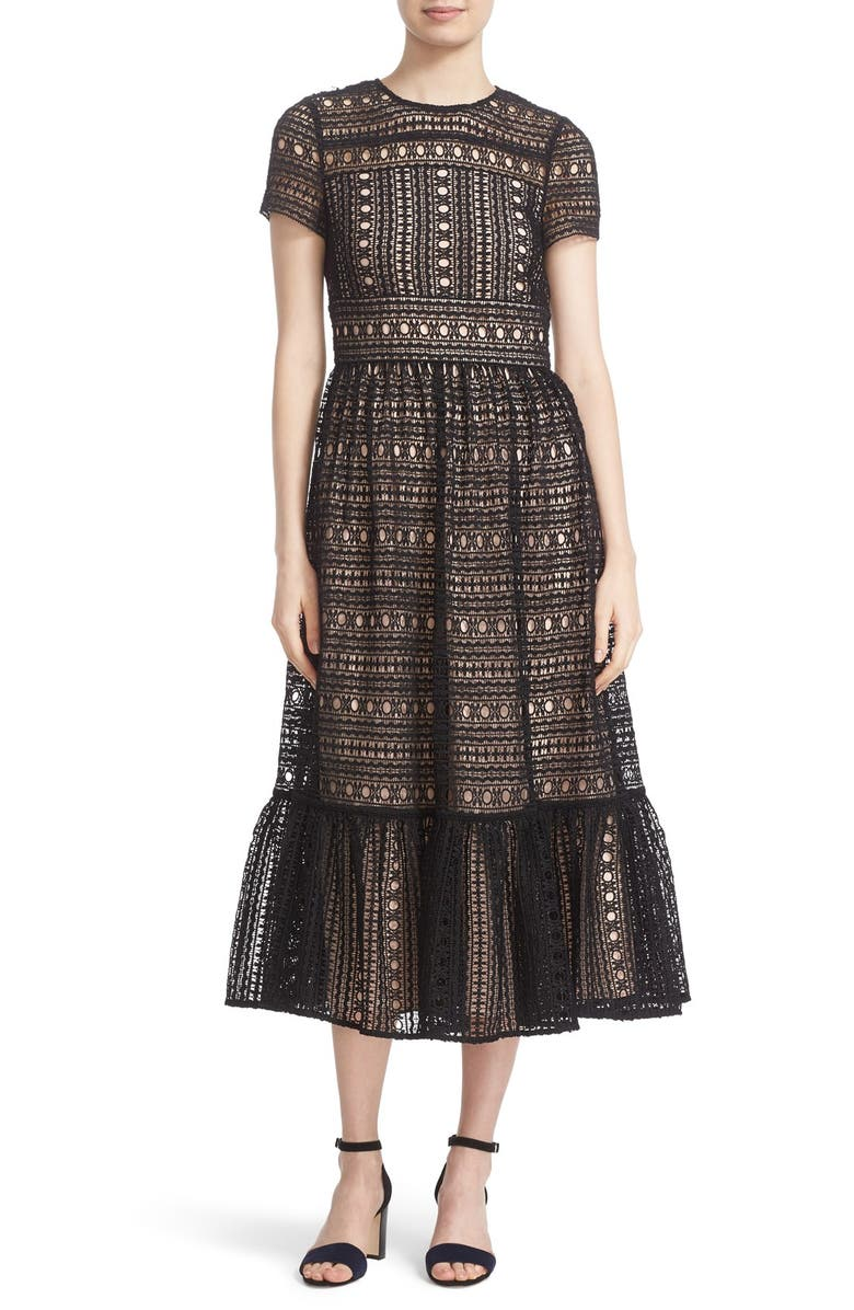 KATE SPADE NEW YORK lace midi dress, Main, color, 001