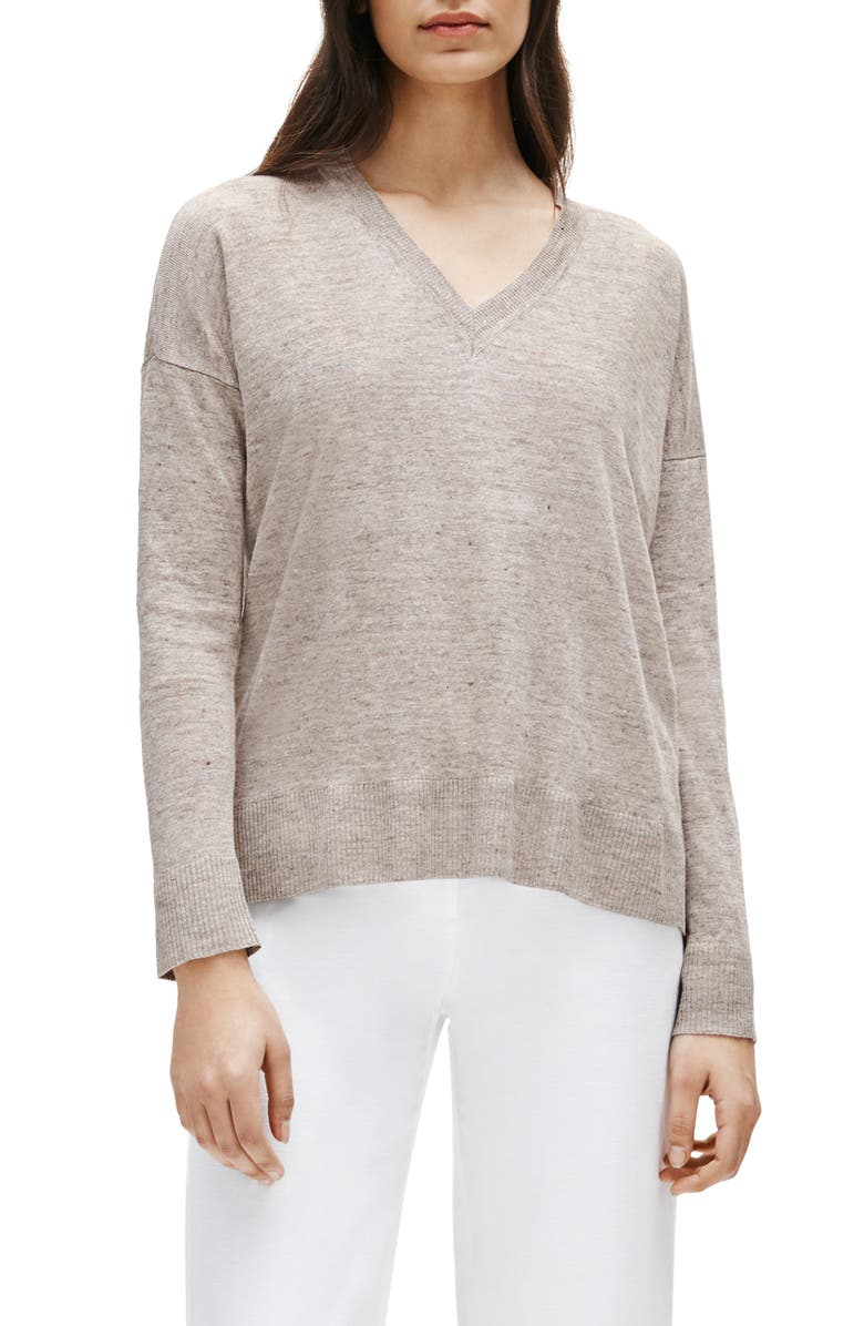 EILEEN FISHER Box Top Organic Linen Sweater, Main, color, 274