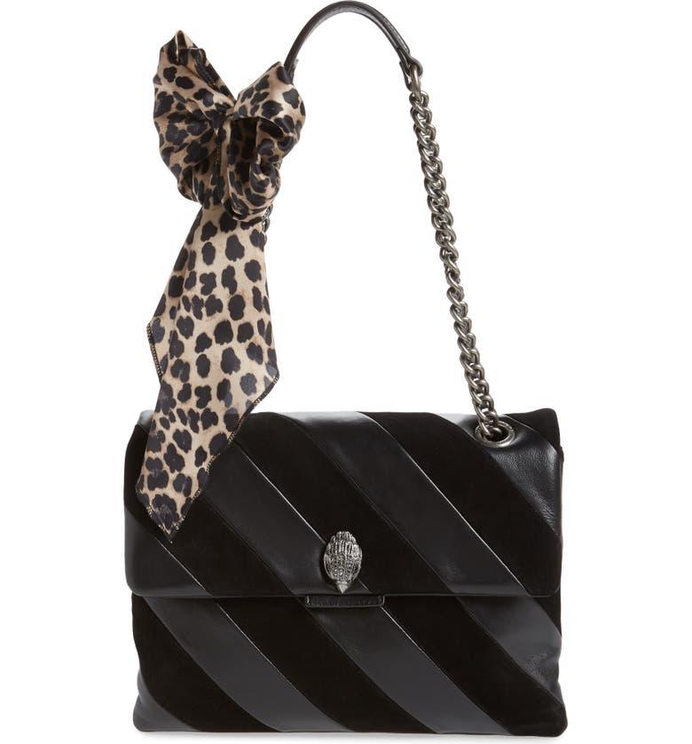 KURT GEIGER LONDON Large Soho Leather & Suede Shoulder Bag, Main, color, BLACK