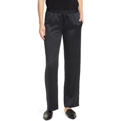 Petite Eileen Fisher Pull-On Straight Leg Recycled Polyester Pants, Black