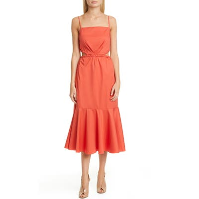 Johanna Ortiz Side Cutout Midi Dress, Orange