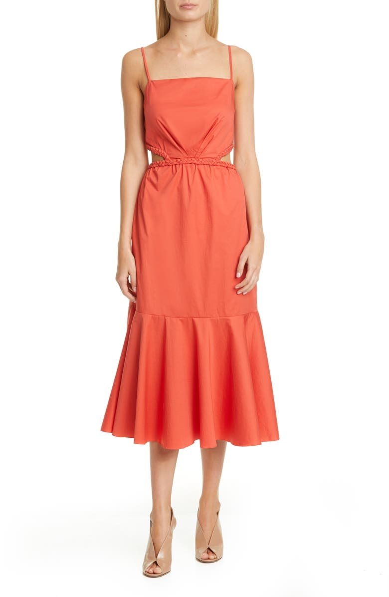 JOHANNA ORTIZ Side Cutout Midi Dress, Main, color, PAPRIKA RED
