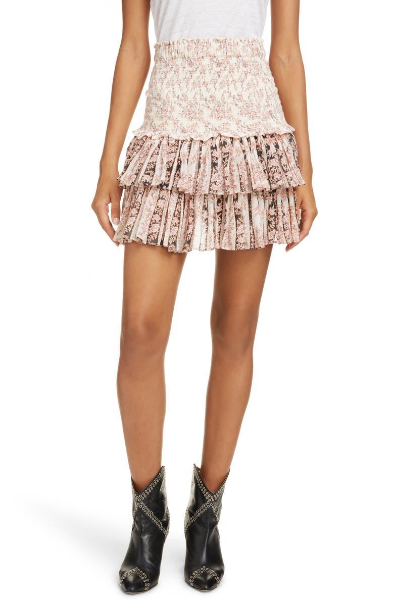 ISABEL MARANT ÉTOILE Naomi Floral Miniskirt, Main, color, ECRU/ BLACK