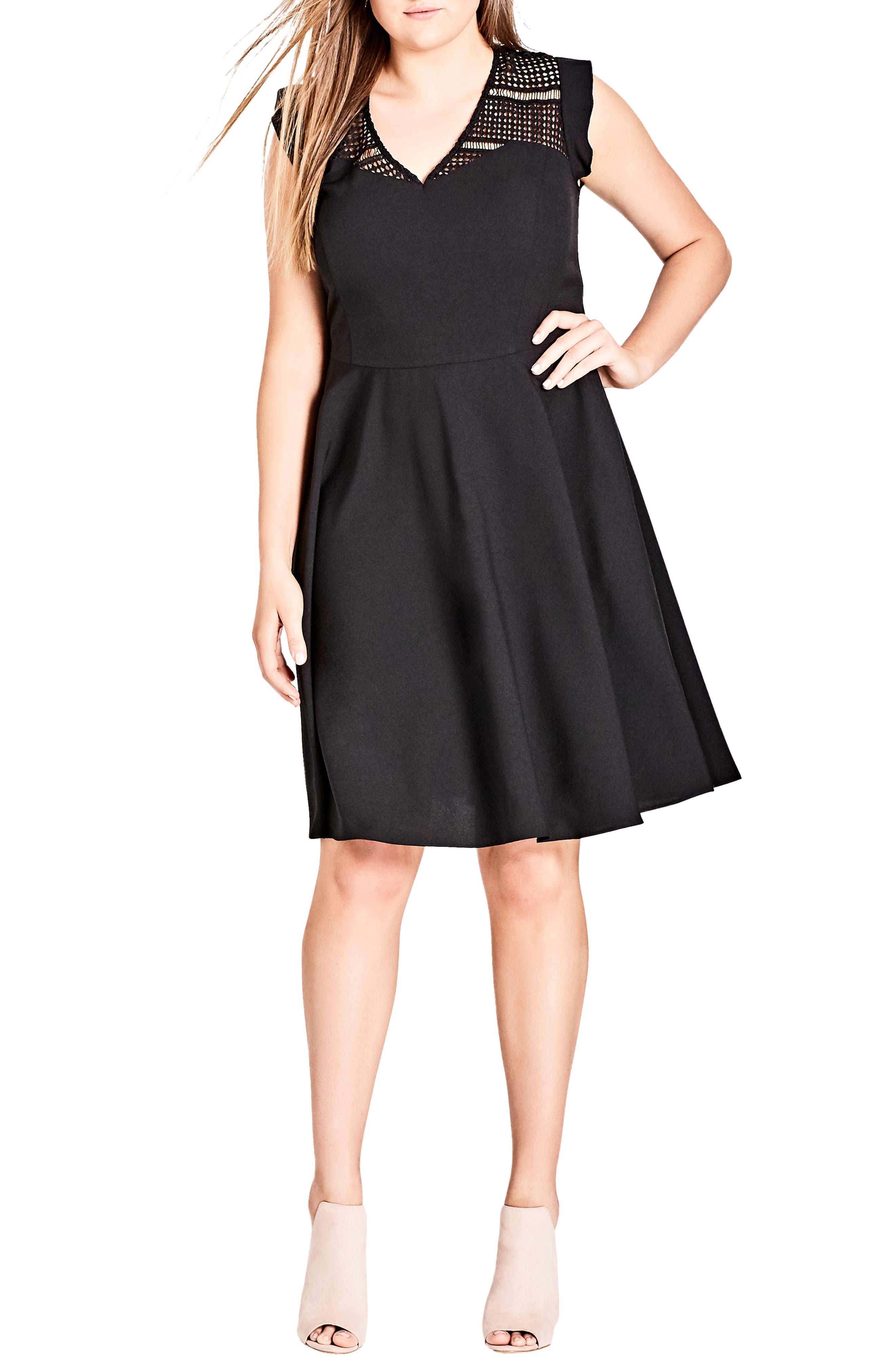 Plus Size City Chic First Place Crochet Yoke Fit & Flare Dress, Black