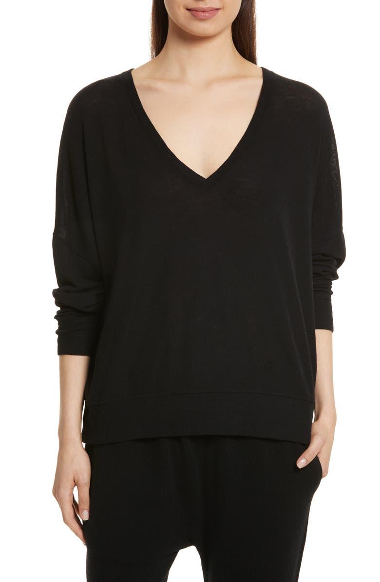 VINCE Drop Shoulder V-Neck Sweater, Main, color, 001